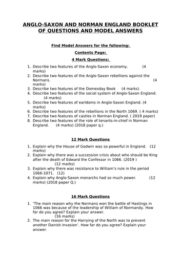 Anglo Saxon and Normans Edexcel Model Answers