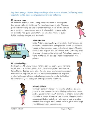 Mi Familia Lectura | My Family Spanish Reading