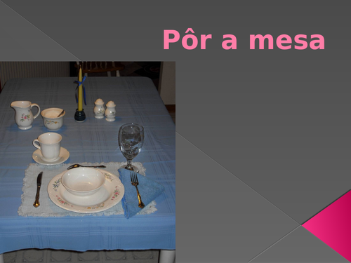 Pôr a mesa (Set the Table in Portuguese) PowerPoint