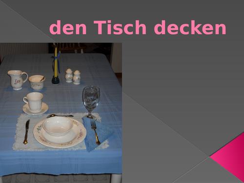 Den Tisch Decken (Set the Table in German) PowerPoint