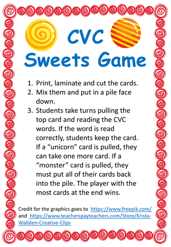 Short Vowels Sweets game