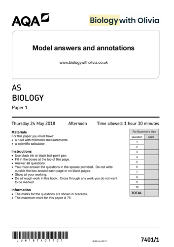 2018 AS Biology AQA paper 1 | A* model answers & annotations - exam technique