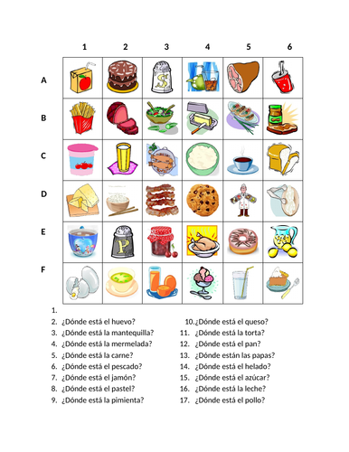 Comida (Food in Spanish) Find it Worksheet Distance Learning
