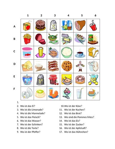 Essen (Food in German) Find it Worksheet Distance Learning