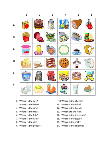 Food in English Find it Worksheet Distance Learning