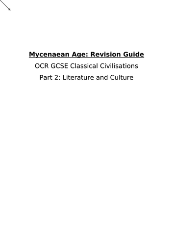 Mycenaean Age: Revision Guide OCR