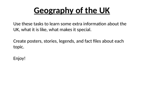 Geography of the UK Project