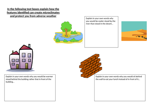 Microclimates worksheet