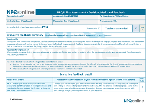 IBDP NPQSL project & feedback completed Feb 2020