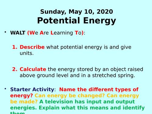 Potential Energy PPT - GCSE Physics