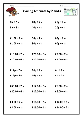 Divide Money by 2 and 4 (Worksheet)