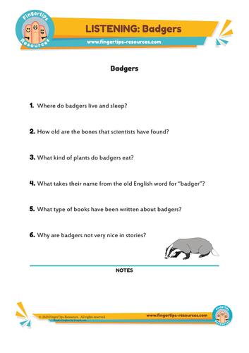 Badgers - ESL Listening Activity