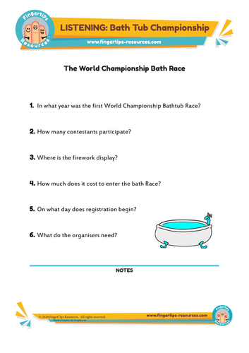 Bath Tub Championship - ESL Listening Activity
