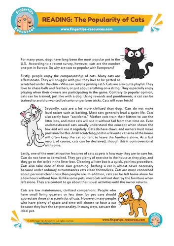 We Love Cats! - ESL Reading Activity