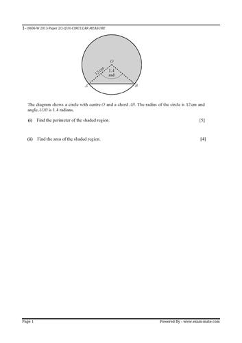 IGCSE Additional Mathematics 0606 Circular measures