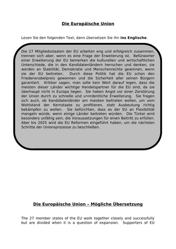 Die EU - translation into English for AQA A Level German