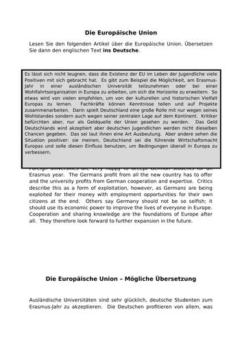Die EU - translation into German for AQA A Level
