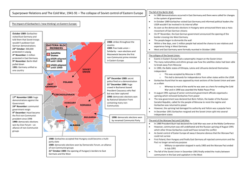 The collapse of Soviet control of Eastern Europe Revision Summary Sheet