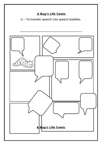 Minibeast Comic Strip Template - Transferring Speech into Speech Bubbles