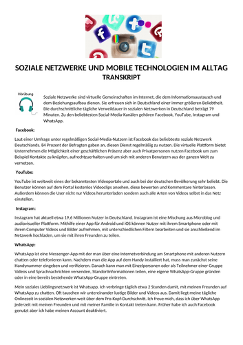 Social Networks - German Listening Lesson with MP3, Transcript and Activities