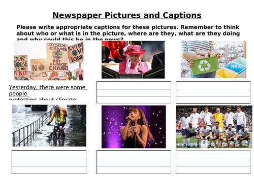 Newspaper Caption Worksheet