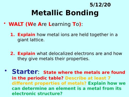 Metallic Bonding PPT - GCSE Chemistry
