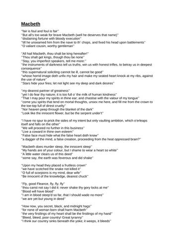 Macbeth Key Quotes
