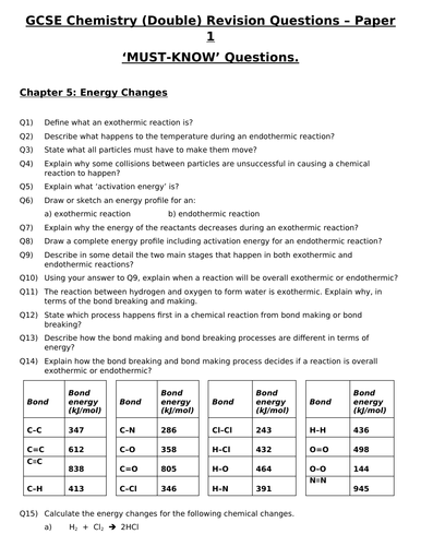 GCSE Chemistry (Double) Revision - Topic 5 Energy Changes Questions and Answers