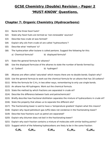 GCSE Chemistry (Double) Revision - Topic 7 Organic Chemistry Questions and Answers