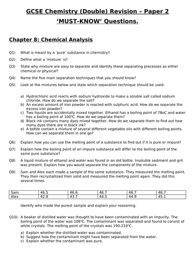 GCSE Chemistry (Double) Revision - Topic 8 Chemical Analysis Questions and Answers