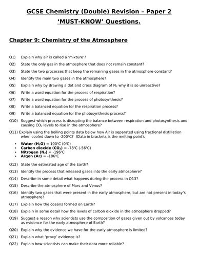 GCSE Chemistry (Double) Revision - Topic 9 Chemistry of the Atmosphere Questions and Answers