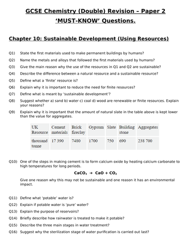 GCSE Chemistry (Double) Revision - Using Resources Questions and Answers