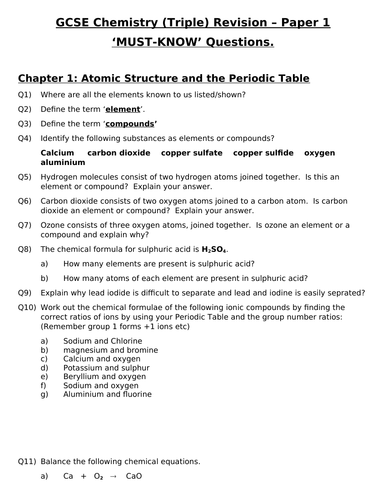 GCSE Triple Chemistry Revision - Topic 1 Atomic structure & the Periodic Table Questions and Answers