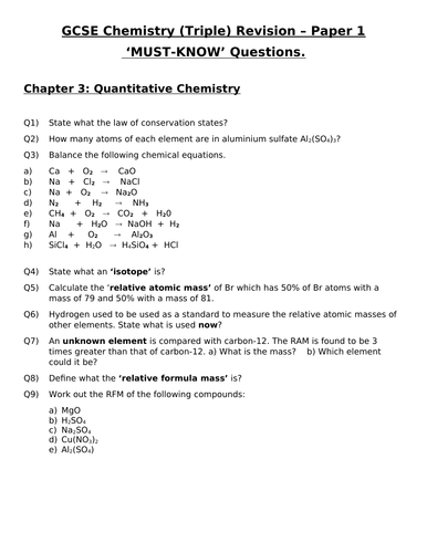 GCSE Triple Chemistry Revision - Topic 3 Quantitative Chemistry Questions and Answers