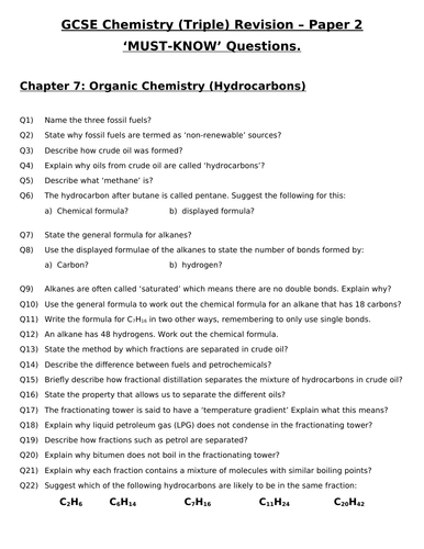 GCSE Triple Chemistry Revision - Topic 7 Organic Chemistry Questions and Answers
