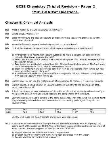 GCSE Triple Chemistry Revision - Topic 8 Chemical Analysis Questions and Answers