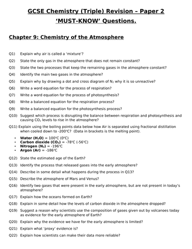 GCSE Triple Chemistry Revision - Topic 9 Chemistry of the Atmosphere Questions and Answers