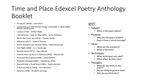 Edexcel GCSE English Literature Time and Place Poetry Profiles Booklet