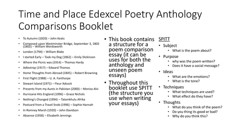 Edexcel GCSE English Literature Time and Place Poetry Comparisons Booklet