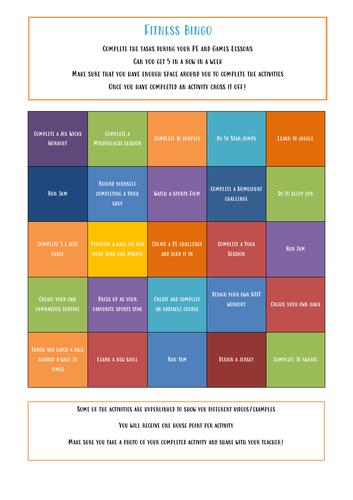 PE Remote Learning Challenge - Fitness Bingo