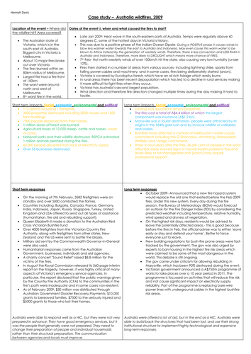 Geography A level Australia wildfire case study poster A3