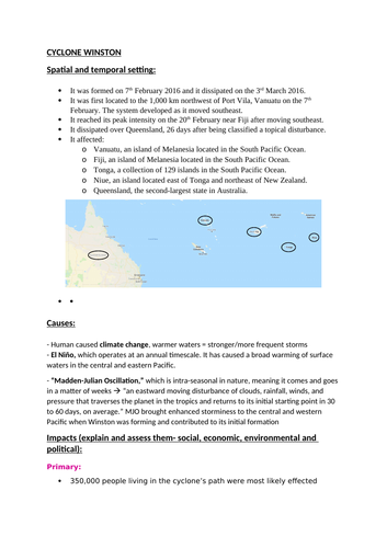 Geography A level Cyclone Winston  case study factsheets (Fiji)