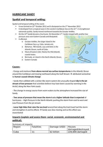 Geography A level Hurricane Sandy  case study factsheets (East coast USA)