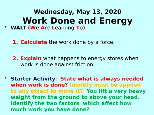 Work Done and Energy PPT - GCSE Physics