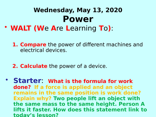 Power PPT - GCSE Physics