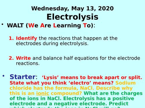 Electrolysis PPT - GCSE Chemistry