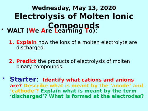 Electrolysis of Molten Ionic Compounds