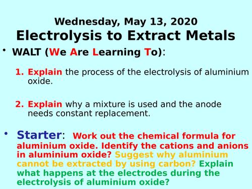 Electrolysis to Extract Metals (Aluminium) PPT - GCSE Chemistry