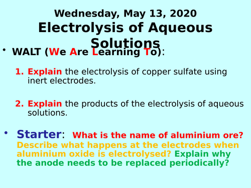 Electrolysis of Aqueous Solutions PPT - GCSE Chemistry