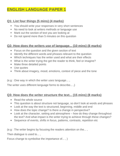 GCSE English Language Papers 1 & 2 Guide
